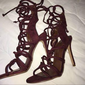 Shoe Republic LA Shoes - Laced burgundy heels